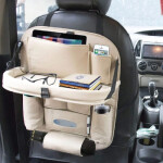 PU Leather Fashionable Car Seat Back Storage (Beige)